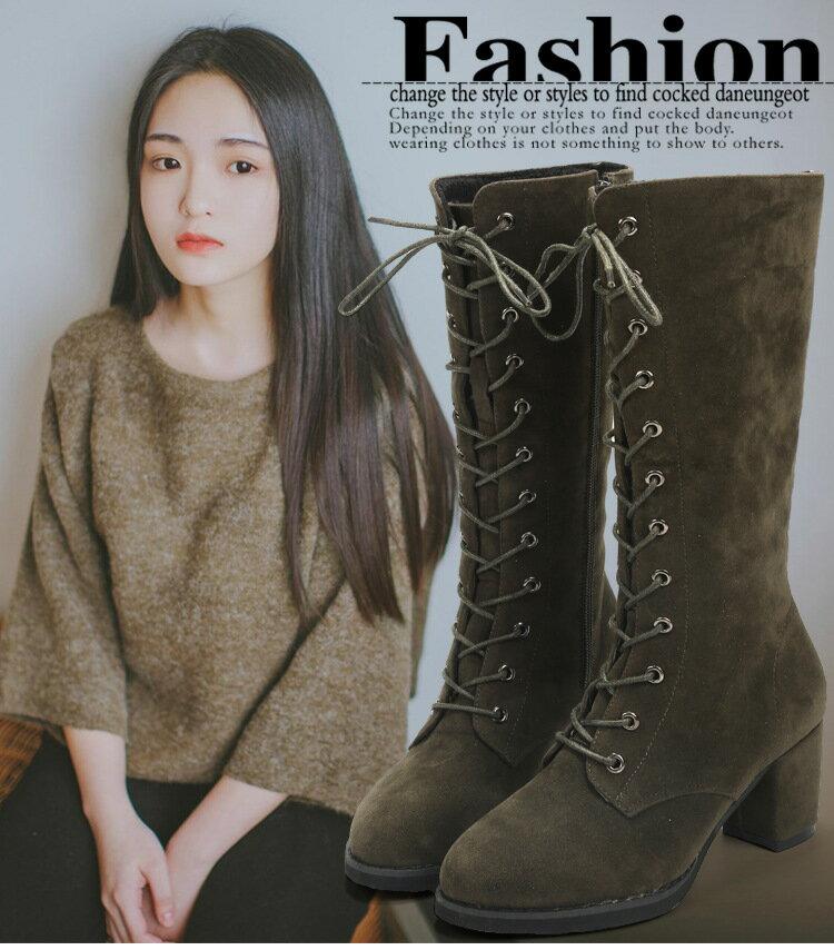 Ms.Perfect 韓版絨面磨砂繫帶側拉鍊圓頭騎士高粗跟靴女長靴