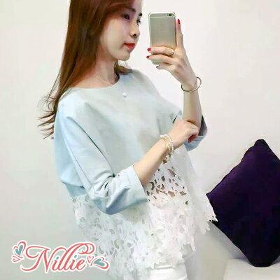Nillie‧拼接鏤空花朵蕾絲七分袖上衣03/28 (白/藍)【N89234】