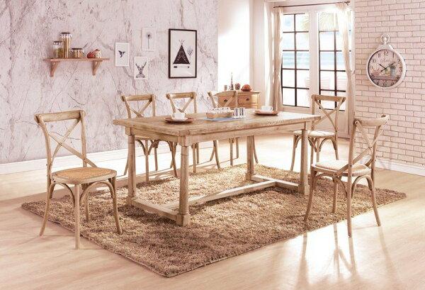 【石川家居】YE-A433-01西里爾6尺白橡全實木餐桌(不含餐椅及其他商品)台北到高雄搭配車趟免運