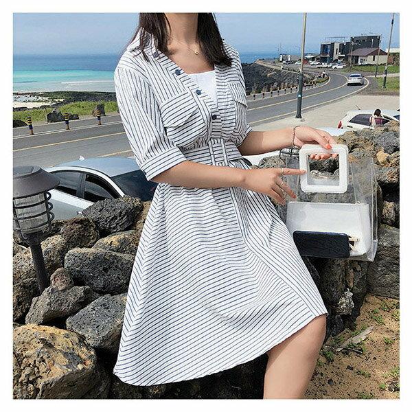 短袖洋裝條紋翻領鈕釦裝飾短袖洋裝連身裙【NDF5036】BOBI0628