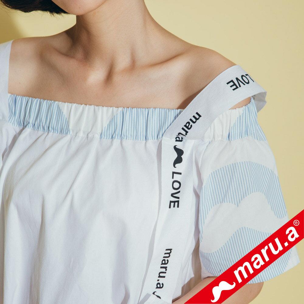 【maru.a】一字領超美織帶拼接上衣 8323117 4
