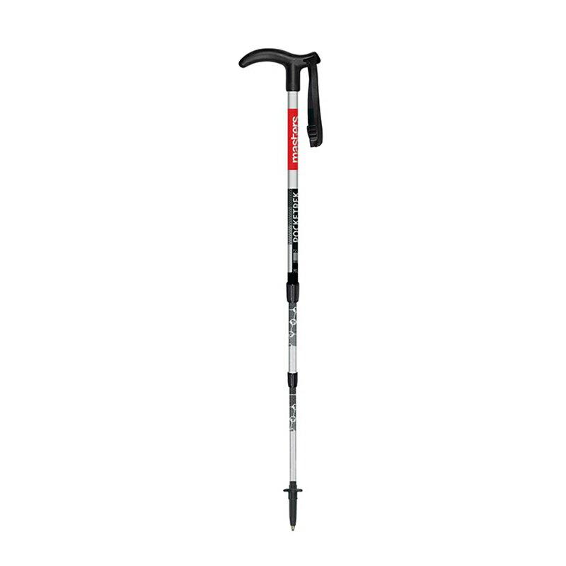 【露營趣】新店桃園 義大利 MASTERS MA01S1314 Pocketrek 寶特(銀/紅) T型握把登山杖 7075航太鋁合金 拐杖