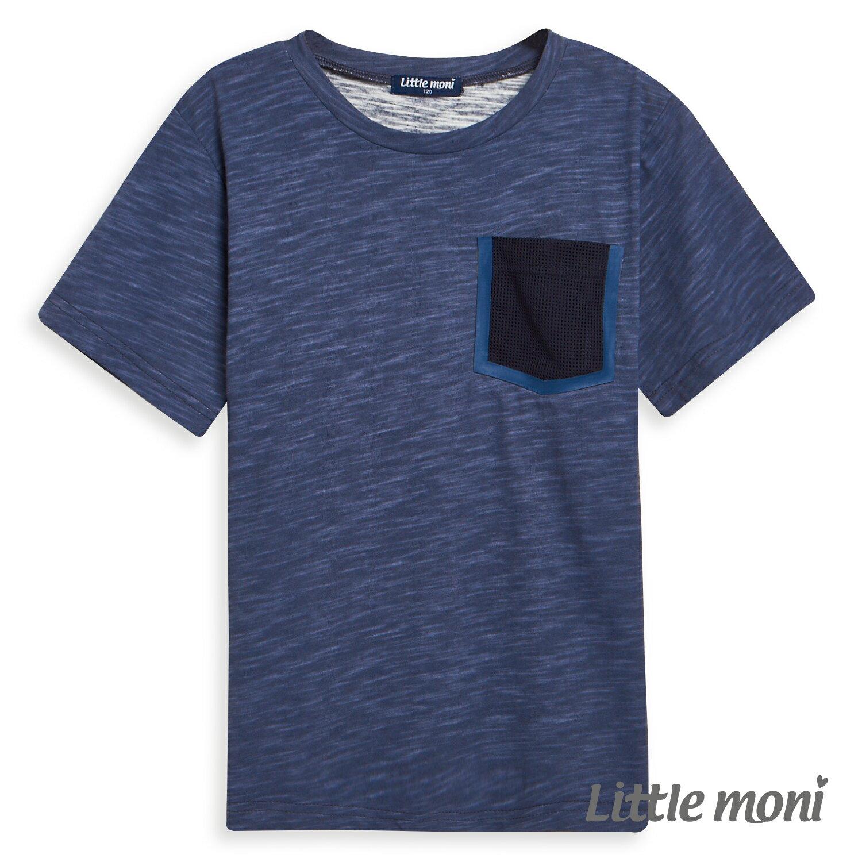 Little moni 素面拼接口袋棉T-深藍(好窩生活節) 1