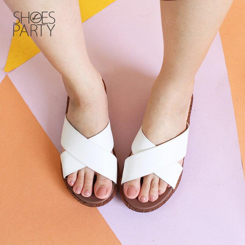 【S2-18708L】Simple+雙帶交叉漢堡底拖鞋_Shoes Party 2