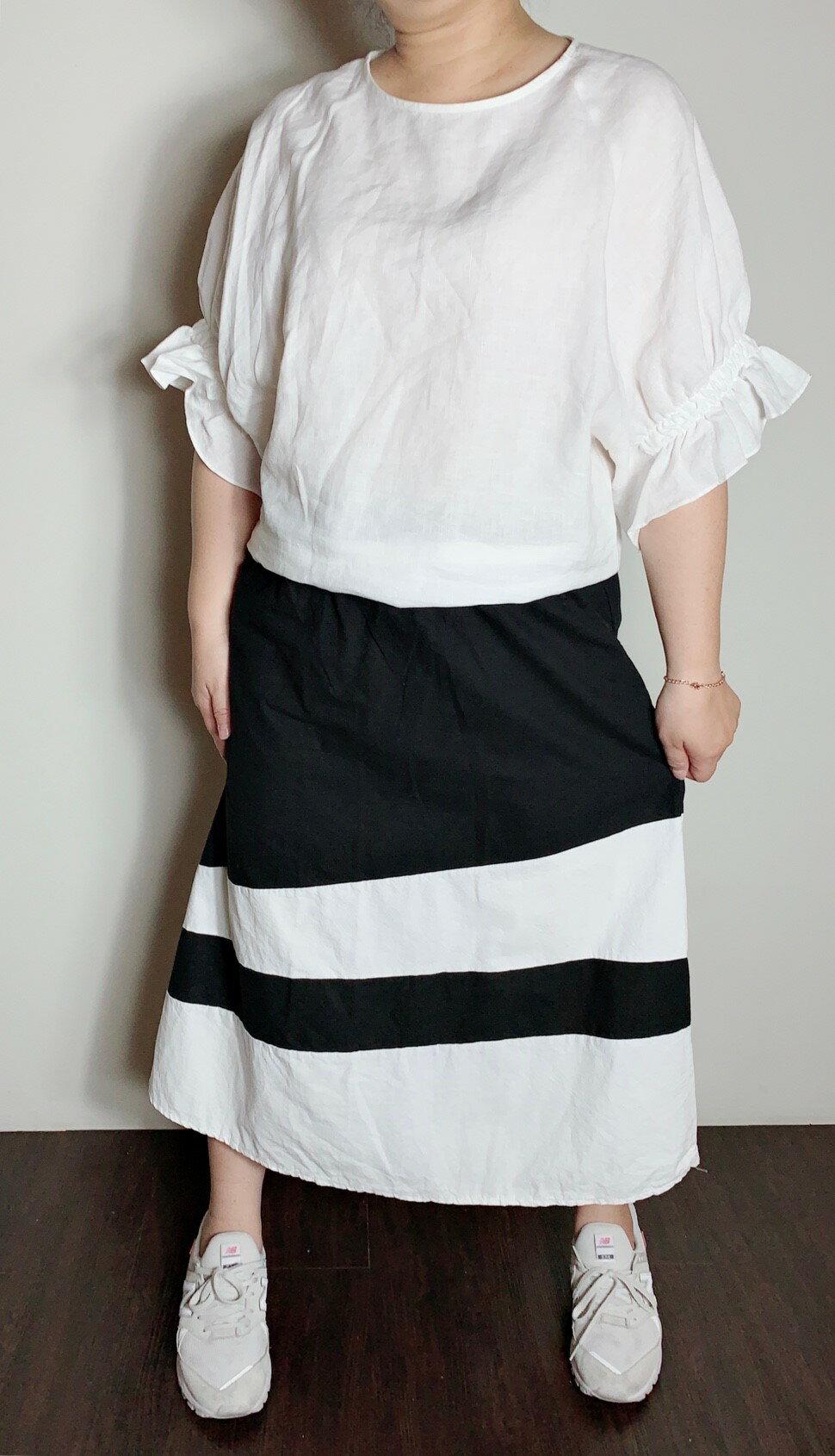 黑白拼接棉質長裙