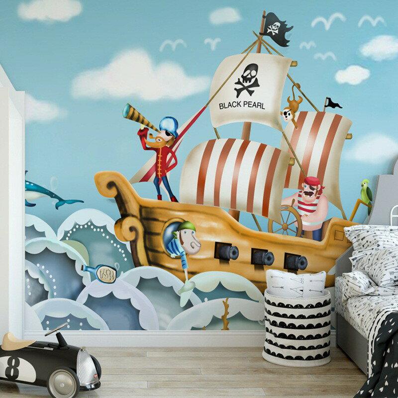 新店五折 海洋小海盜船兒童房墻紙可愛女孩墻布公主房寶寶樂園壁紙臥室壁畫