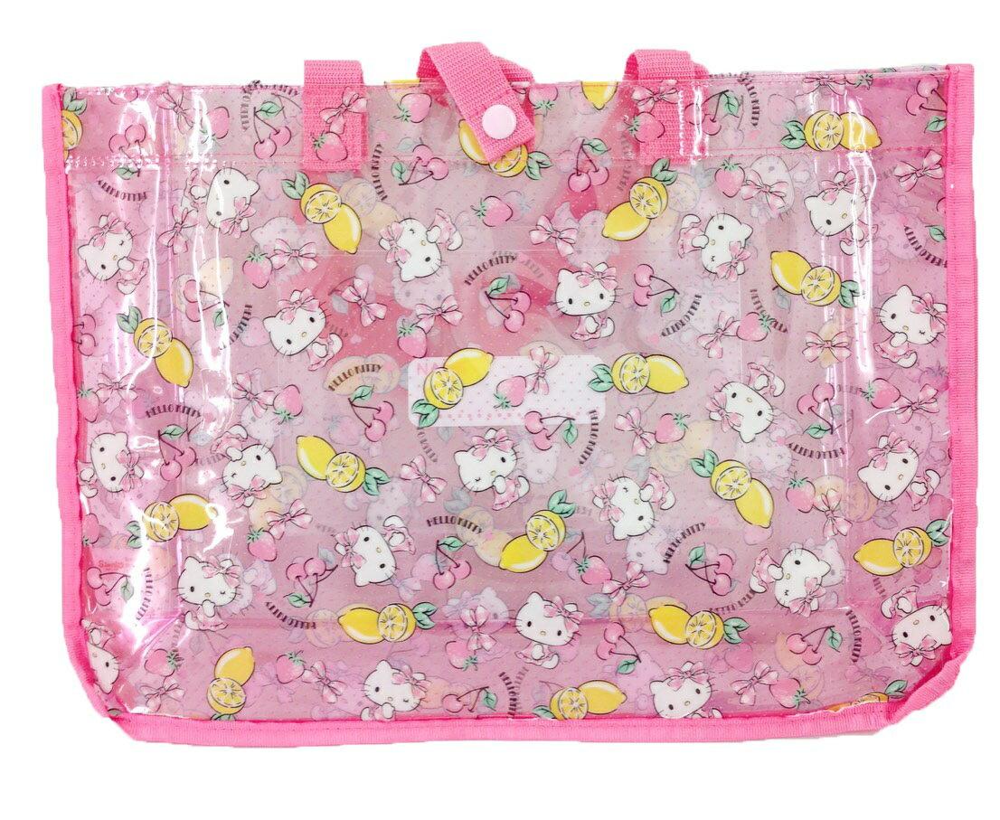 【真愛日本】16032500004防水方型提袋-KT滿版水果粉  三麗鷗 Hello Kitty 凱蒂貓  防水包 提包 包包