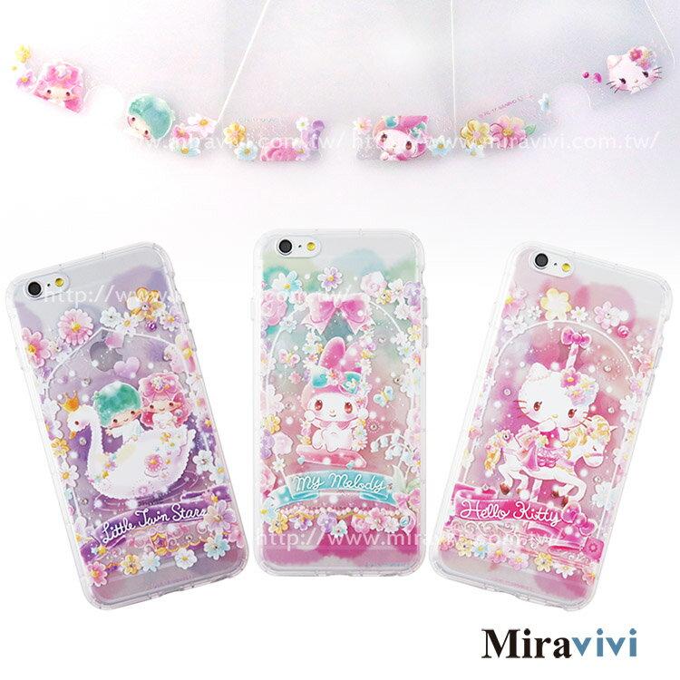 Sanrio三麗鷗iPhone 6/6S Plus(5.5吋)繁花彩繪空壓保護套+玻璃保貼組