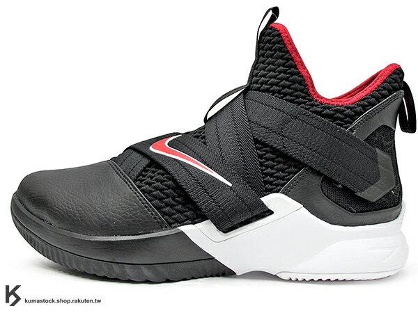 2018NBA小皇帝JAMES子系列代言鞋款NIKELEBRONSOLDIERXII12EP黑紅黑紅白活動黏扣帶無鞋帶設計前、後ZOOMAIR氣墊耐磨橡膠底輕量化籃球鞋(AO4053-001)0518