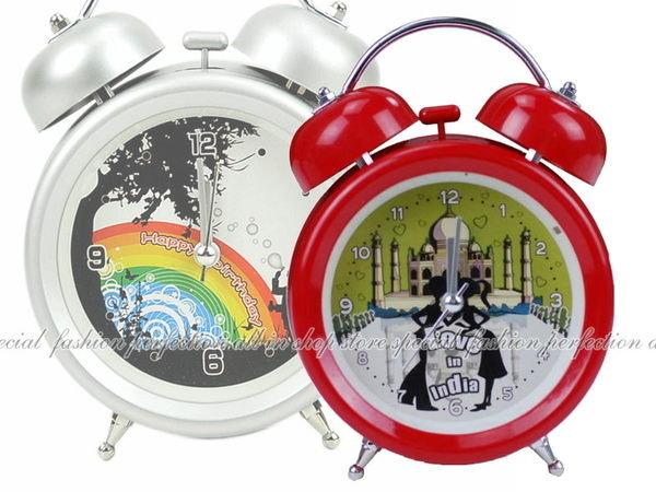 大雙耳造型復古鬧鐘 時鐘 背光 創意鬧鐘 家居擺飾 床桌鬧鐘~不挑【DE403】◎123便利屋◎