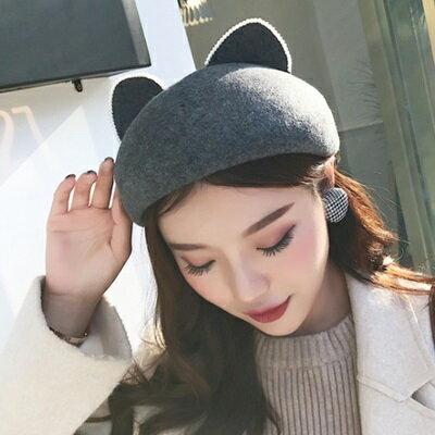羊毛呢帽貝雷帽-時尚可愛珍珠耳朵女帽子3色73tk20【獨家進口】【米蘭精品】