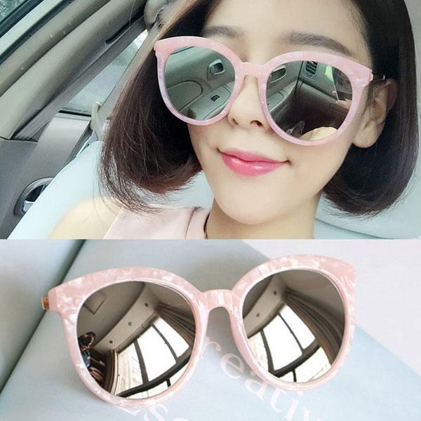 貝殼粉 粉紅大理石 墨鏡 圓框反射反光鏡面 大框小臉明星款 太陽眼鏡正韓V