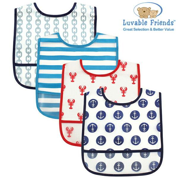 美國 Hudson Baby/Luvable Friends 嬰幼用品 防水圍兜兜 (四件組) - 藍色水手