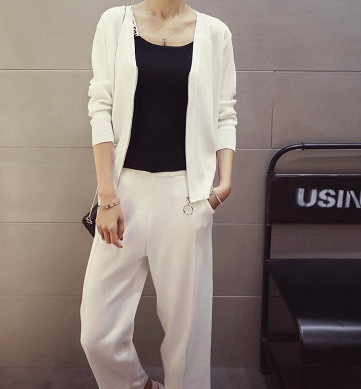 FINDSENSE MD 時尚 女 潮 休閒 素面 V領 拉鏈 針織 小襯衫 九分褲 運動外套 套裝 上衣+褲子