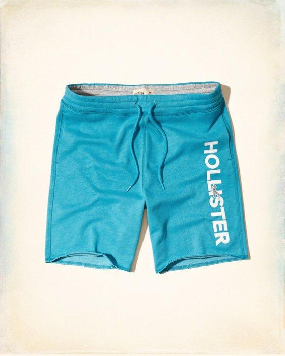 美國百分百【Hollister Co.】褲子 HCO 海鷗 短褲 棉褲 運動褲 休閒褲 男 海青色 XS號 H956
