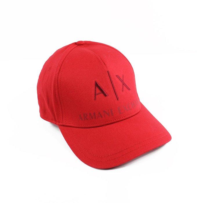 美國百分百【全新真品】Armani Exchange 棒球帽 AX 帽子 遮陽帽 魔鬼氈 經典 logo 紅色 H619