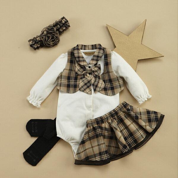 【金安德森】秋冬新生兒禮盒-超有型小背心裙裝+俏麗髮帶