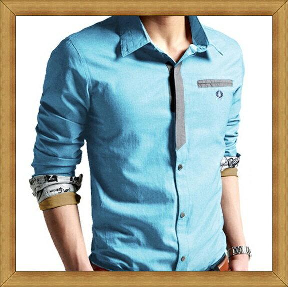 襯衫 長袖上衣-修身休閒帥氣純棉男襯衫10色53c18【日本進口】【米蘭精品】