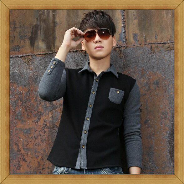 襯衫 長袖上衣-修身休閒帥氣純棉男襯衫9色53c7【日本進口】【米蘭精品】