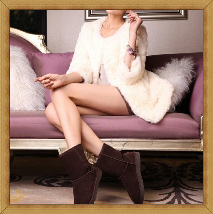 雪靴 女鞋子~ 蓬鬆保暖皮革女短靴7色53f1~澳洲 ~~米蘭 ~