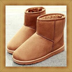 ☆雪靴 女鞋子-時尚蓬鬆保暖皮革女短靴3色53f17【澳洲進口】【米蘭精品】