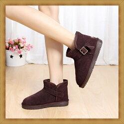 ☆雪靴 女鞋子-時尚蓬鬆保暖皮革女短靴15色53f5【澳洲進口】【米蘭精品】