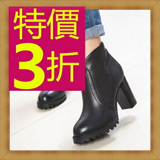 高跟短靴 女鞋子-亮麗流行時尚皮革女靴子2色53n9【韓國進口】【米蘭精品】