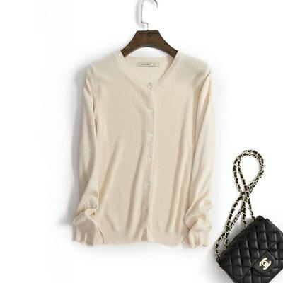 ☆針織外套 女外套-純棉純色長袖開襟女針織衫11色54j3【韓國進口】【米蘭精品】 1