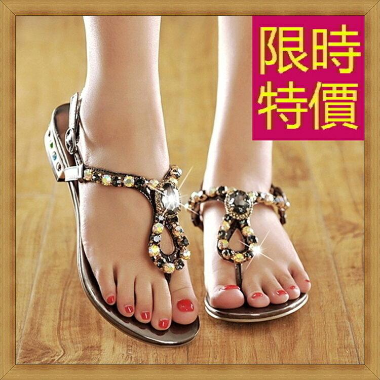 ☆平底涼鞋  休閒鞋-夏季氣質精美水鑽女鞋子3色55l45【韓國進口】【米蘭精品】 2