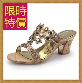 ☆高跟涼鞋 女鞋子-夏季氣質精美水鑽女休閒鞋2色55l47【韓國進口】【米蘭精品】