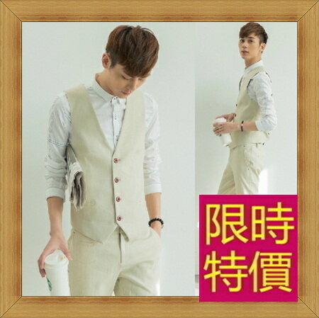 西裝背心 男西服-韓版時尚修身男馬甲(一套)57h9【韓國進口】【米蘭精品】