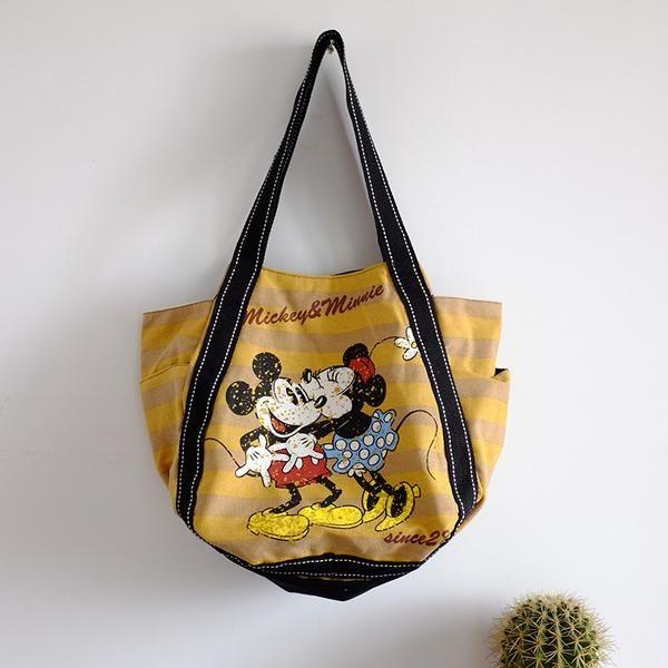EMMA商城~外貿原單款米奇米妮肩背包.帆布包.媽咪包(黃色)