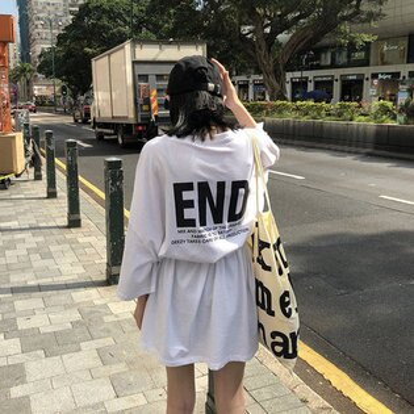 T恤素色字母長版衫寬鬆短袖T恤連身裙【MY1836】BOBI0705