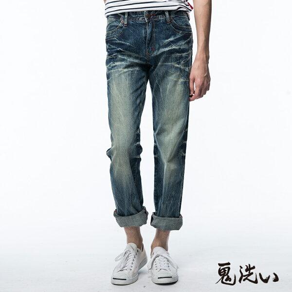 【均一價1580】口袋反折低腰直筒褲(淺藍)-BLUEWAYONIARAI鬼洗