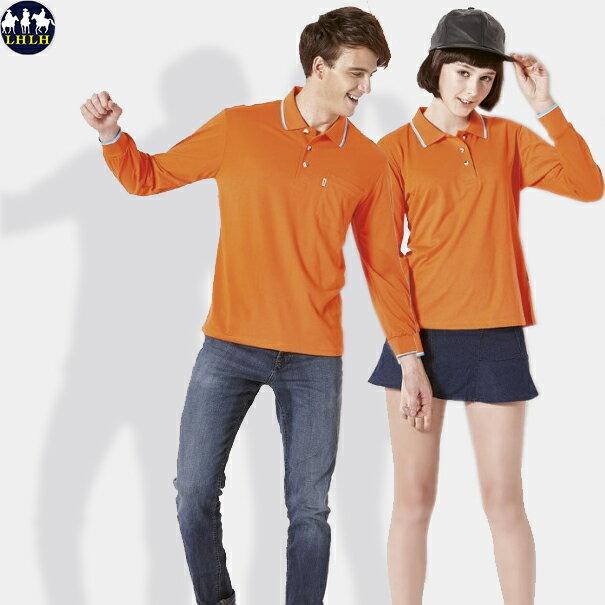 情侶裝 吸濕排汗polo衫長袖 橘色桔色