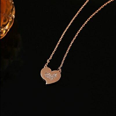 純銀項鍊 鍍18K金鑲鑽吊墜~柔美愛心 七夕情人節 女飾品73dn119~ ~~米蘭 ~