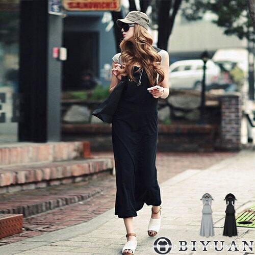 (女裝)大口袋連帽吊帶長裙【NS1741】OBIYUAN修身顯瘦連身裙共2色