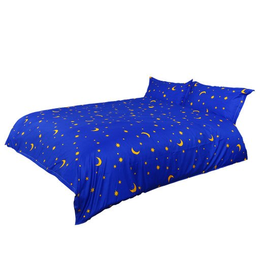 Blue Moon Stars Pattern Duvet Cover Pillowcase Quilt Cover Bedding Set Double d14e19e81de421e05ef971f3d1123f84