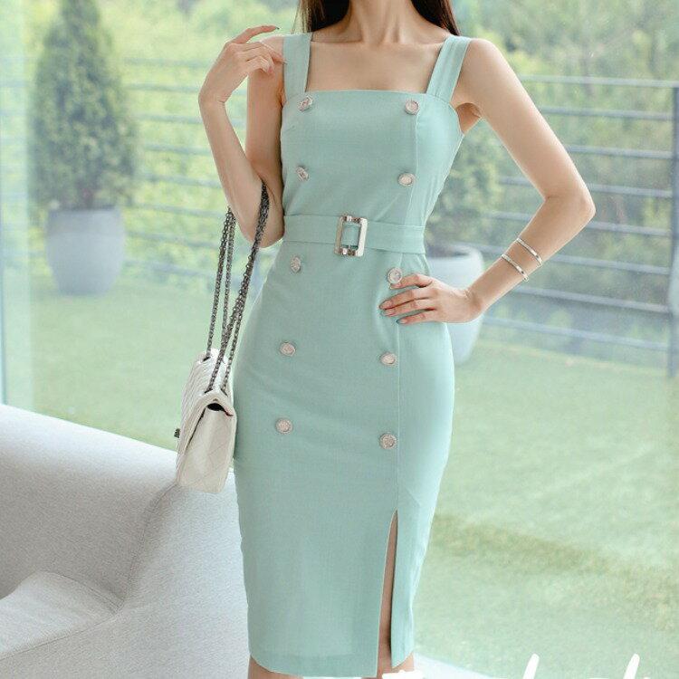 女裝2021夏季新款薄荷綠韓版氣質顯瘦中長款背心時尚包臀裙