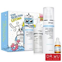 dr wu 玻尿酸保濕精華乳200ML(重量版)X1 氨基酸舒緩卸妝乳150MLX1 玻尿酸保濕精華液5MLX1