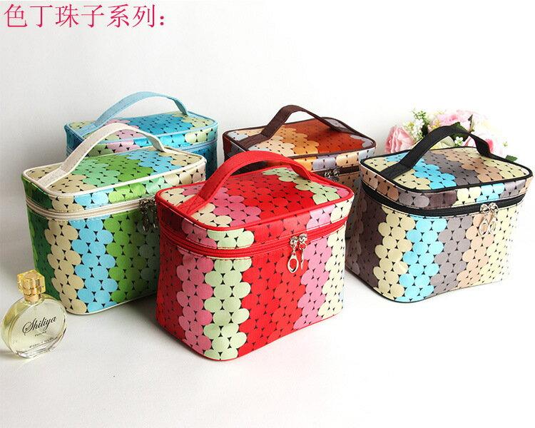 韓版大容量化妝包色丁珠子防水手提化妝包化妝品收納包-黑色