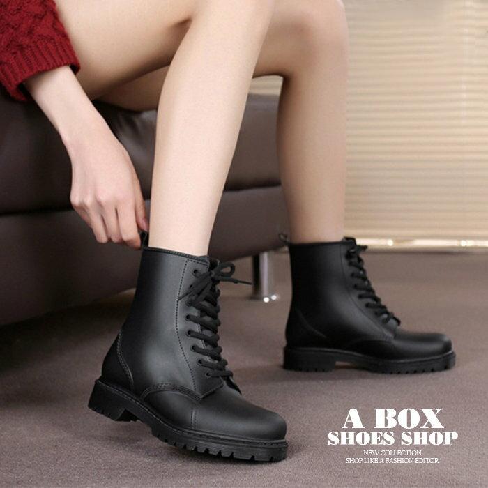 【AR809】晴雨兩穿2ways 韓版質感霧面消光超防水PVC 綁帶低粗跟雨鞋 / 雨靴 馬丁靴 機車靴 黑色 0