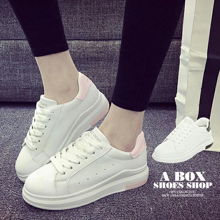【AA302】街頭時尚綁帶休閒鞋 運動鞋 滑板鞋 小白鞋 4CM厚底 PU皮革材質 2色