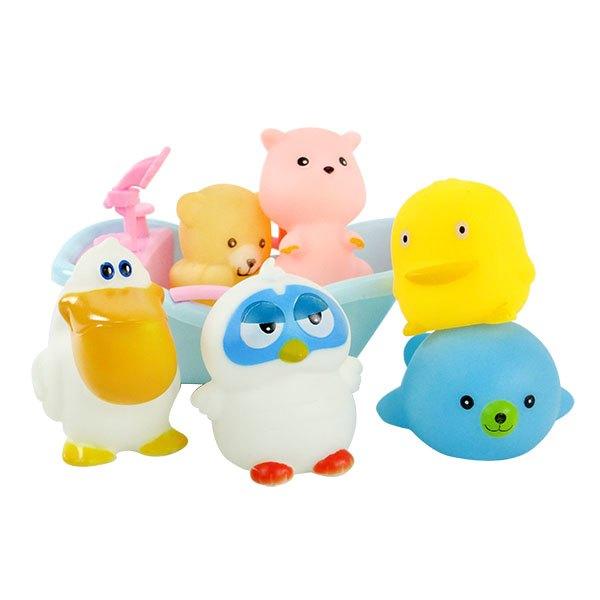 【888便利購】6入動物洗澡玩具啾啾(貓頭鷹浴缸版)(ST安全漆)