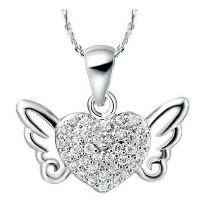~純銀項鍊 鍍白金鑲鑽吊墜~高雅天使之翼情人節生日 女飾品73cy11~ ~~米蘭 ~