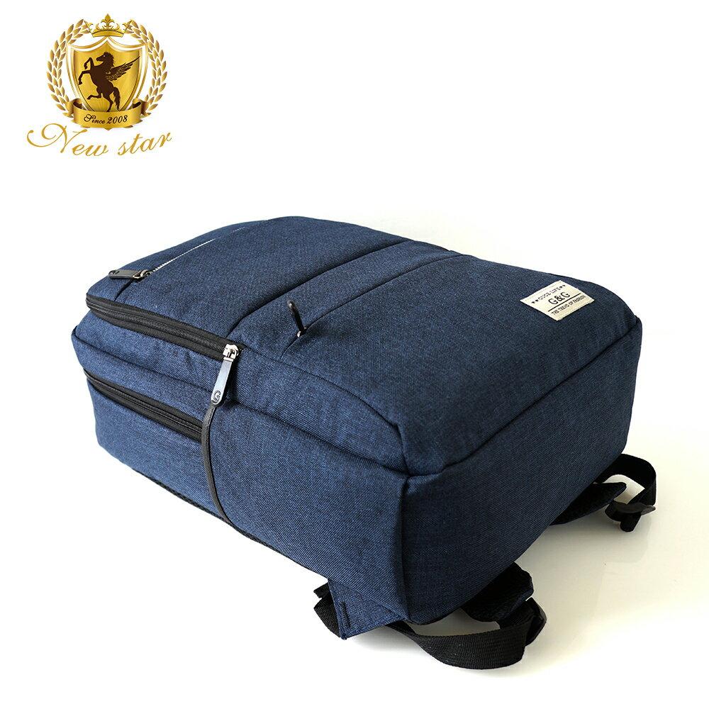 韓風簡約時尚防水雙層拉鍊口袋後背包包 NEW STAR BK238 6