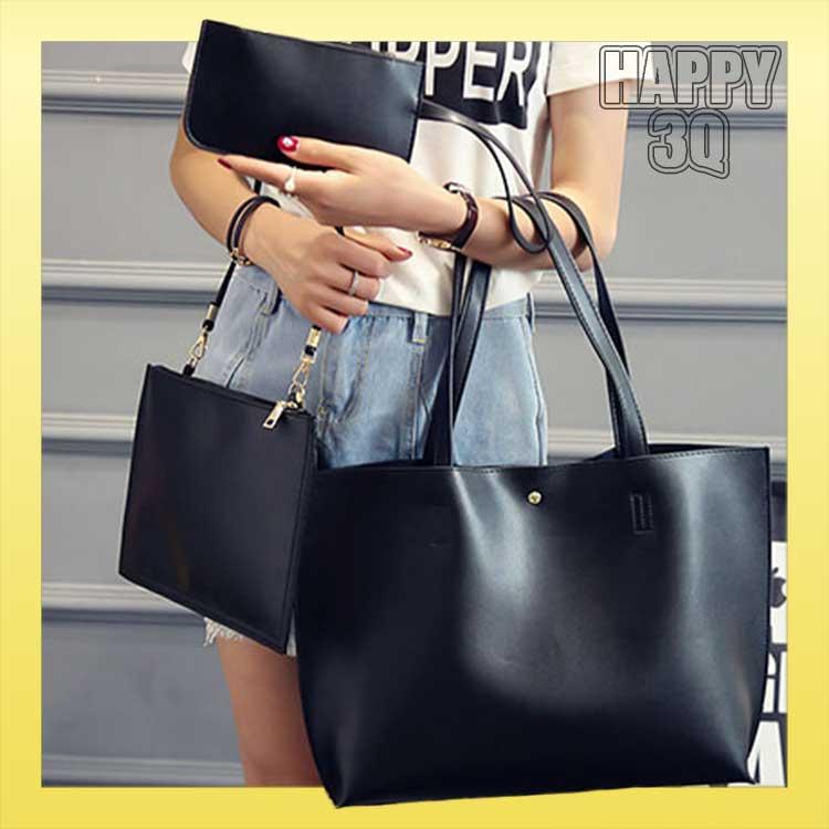 簡約優雅時尚三套組子母包單肩包斜背包外出包包托特包-黑/灰/金/藍/粉/米【AAA0863】