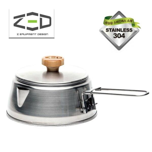 ZED便攜式不鏽鋼茶壺摺疊式提把304不鏽鋼戶外露營旅遊800mlZBACK0306