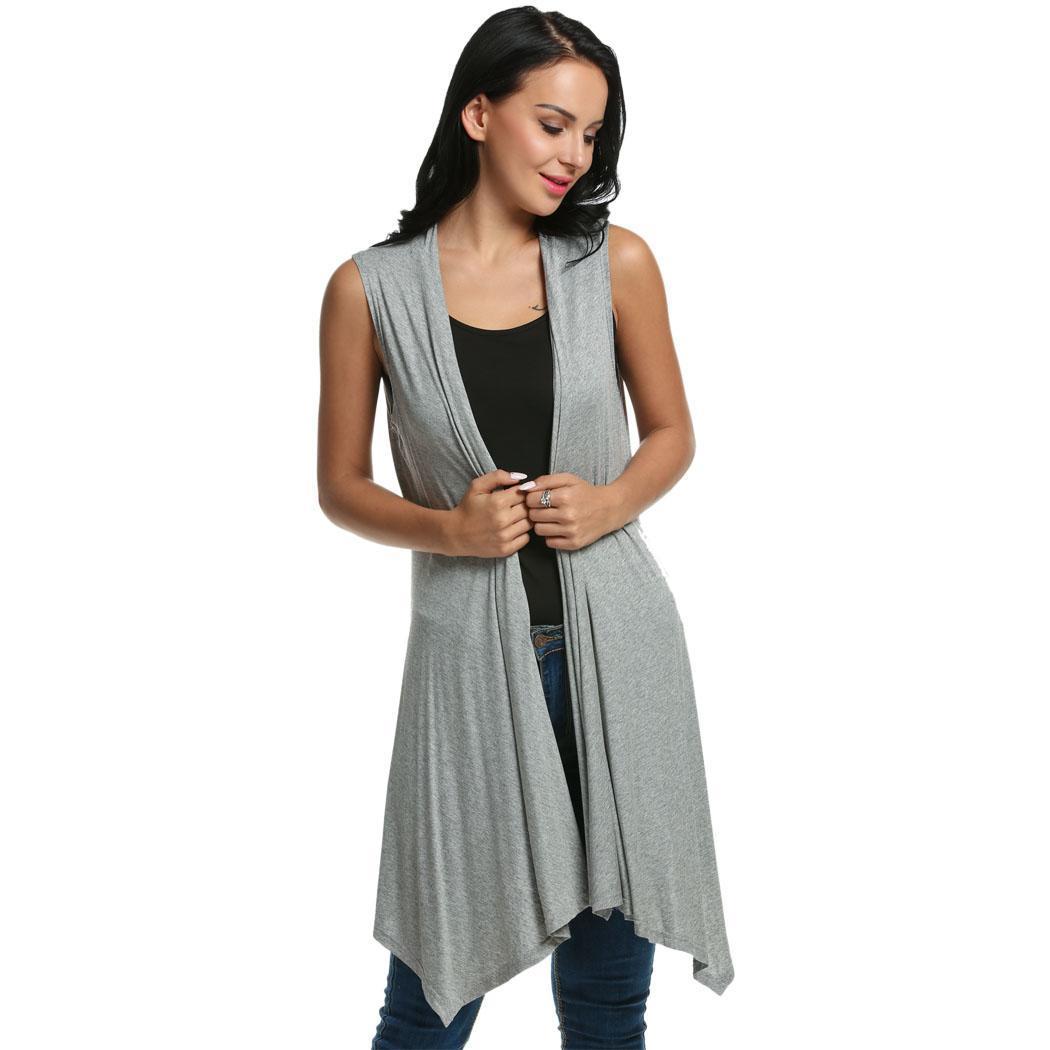 Women Sleeveless Asymmetrical Hem Open Front Casual Long Cardigan 1