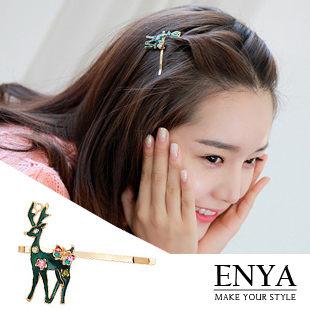 耶誕花麋鹿髮夾 Enya恩雅(正韓飾品)【HAAW4】